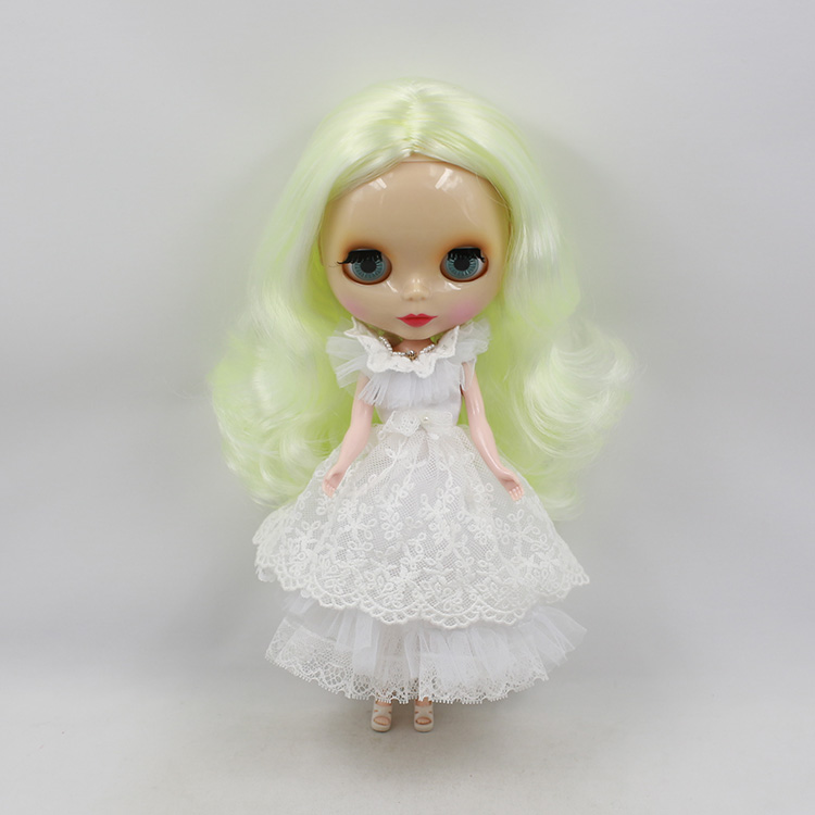 Free shipping sweet Nude Blyth doll pale yellow long wig fashion doll DIY birthday gifts girls bjd doll free shipping nude blyth doll brown wavy wig doll toys for girls