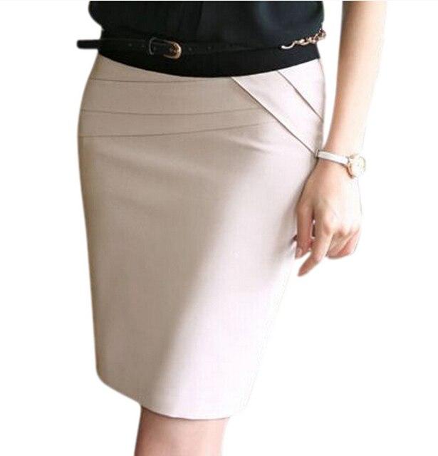 77eb87d759 2016 Autumn Summer Women Career Short Formal Skirts Ladies Sexy High Waist  Knee-Length Pencil Skirt 4 Colors Plus Size