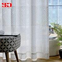 Moderno branco grade sólida tule cortinas para sala de estar estilo chinês geométrico forro voile sheer para o quarto janela