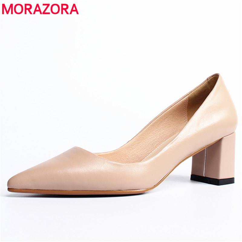 MORAZORA 2019 Genuine leather basic women pumps thick high heels pointed toe summer shoes female nude