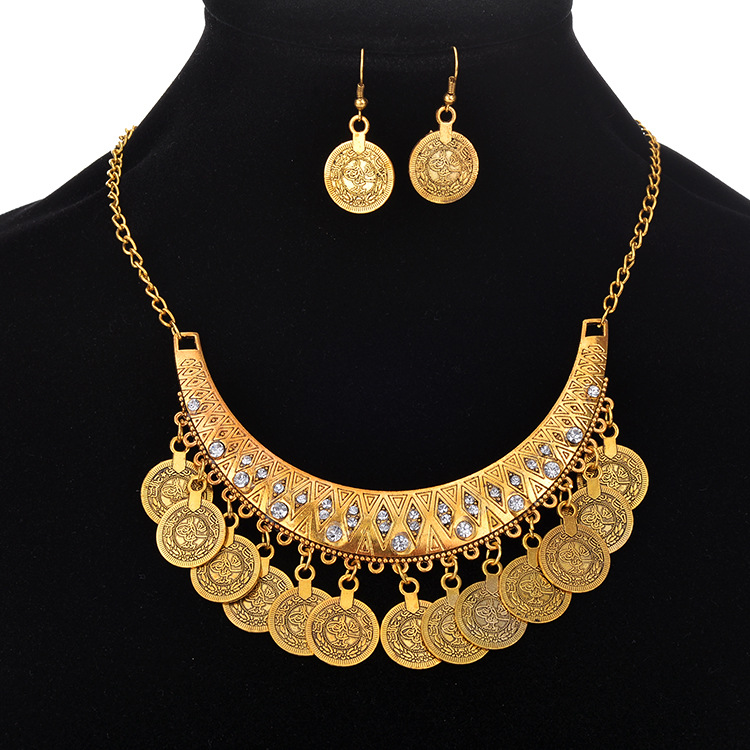 Hand carved Chic Gold-color fashion women necklace Vintage BOHO Gypsy Trendy Unique Jewelry Set