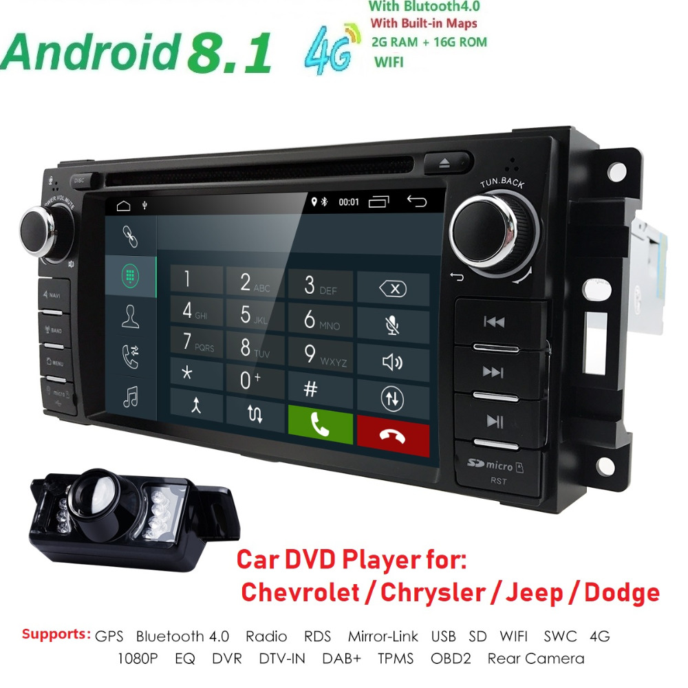 Android 8.1 Estéreo Do Carro CD DVD Player in Dash Car Radio Multimedia Player para JEEP Navegação LCD Bluetooth Wi-fi GPS câmera DVR