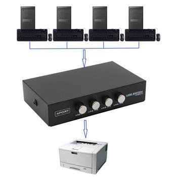 4 Порты USB2.0 обмена переключатель устройства переходник коробка для сканер компьютера принтер