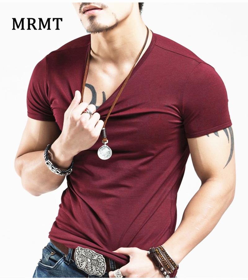 T-shirt da uomo con collo a V 2018 T-shirt a manica corta T-shirt da uomo in cotone Lycra mezzo grasso