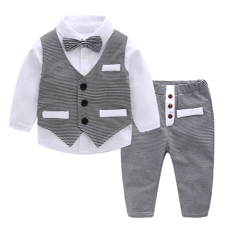 3 PCS Children Formal Clothing Set for Boy Baby Birthday/Party Costume Striped Shirt Infant Toddler Boys Clothing Size 80 90 100 ems dhl free shipping toddler little boys 3pc minions cartoon casual wear summer outfit children clothing 7 colors 80 90 100 110
