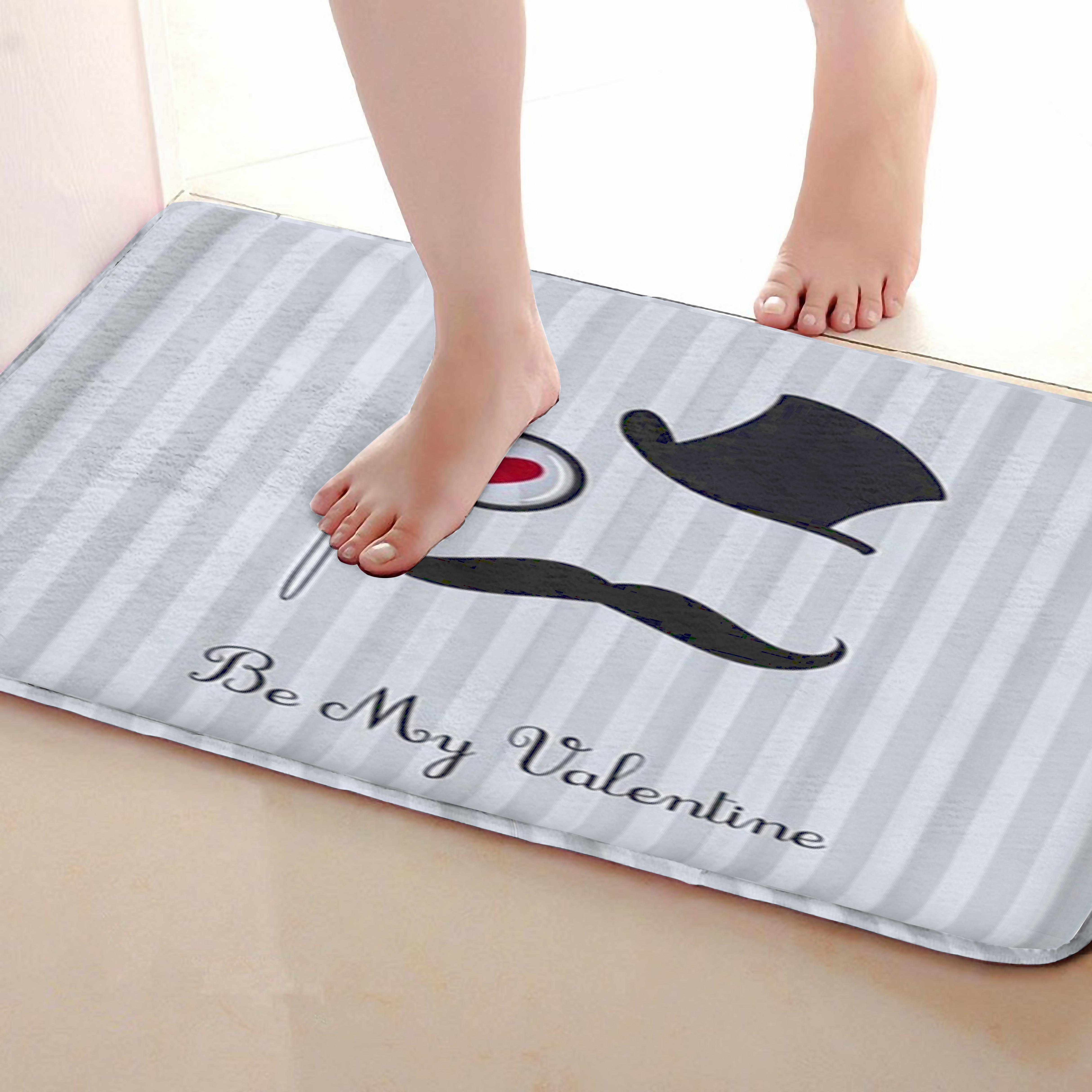 Moustache Style Bathroom Mat,Funny Anti Skid Bath Mat,Shower Curtains Accessories,Matching Your Shower Curtain