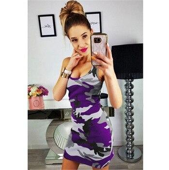 2019 New Summer Fashion Women Sexy Tank Dress Slim Casual Camouflage Military O-Neck Print Splice Empire Mini Dresses Vestidos - 2673 Purple, XL