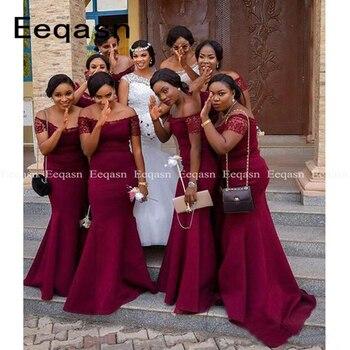 African Burgundy Bridesmaid Dresses Floor Length Short Sleeves Mermaid Junior Wedding Party Gowns Robe Demoiselle D'honneur