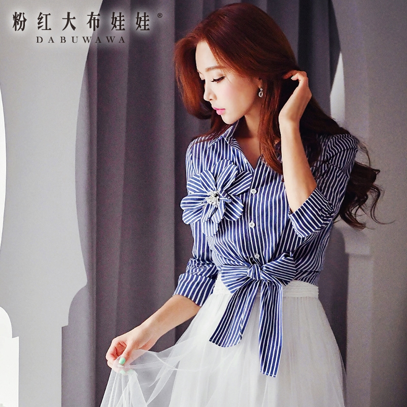 female shirt new fashion 2016 stripes with stereo butterfly knot three quarter sleeve autumn shirts