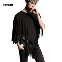 2016 New Male T Shirt Cape Bat Sleeve Tassel T Shirt Men Women Stage Costumes Punk