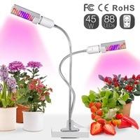 45W Led Grow Light Bulb for Indoor Plants,Sunlike Full Spectrum Grow Lamp White, Dual Head Gooseneck Desk Plant Light 2 Switch