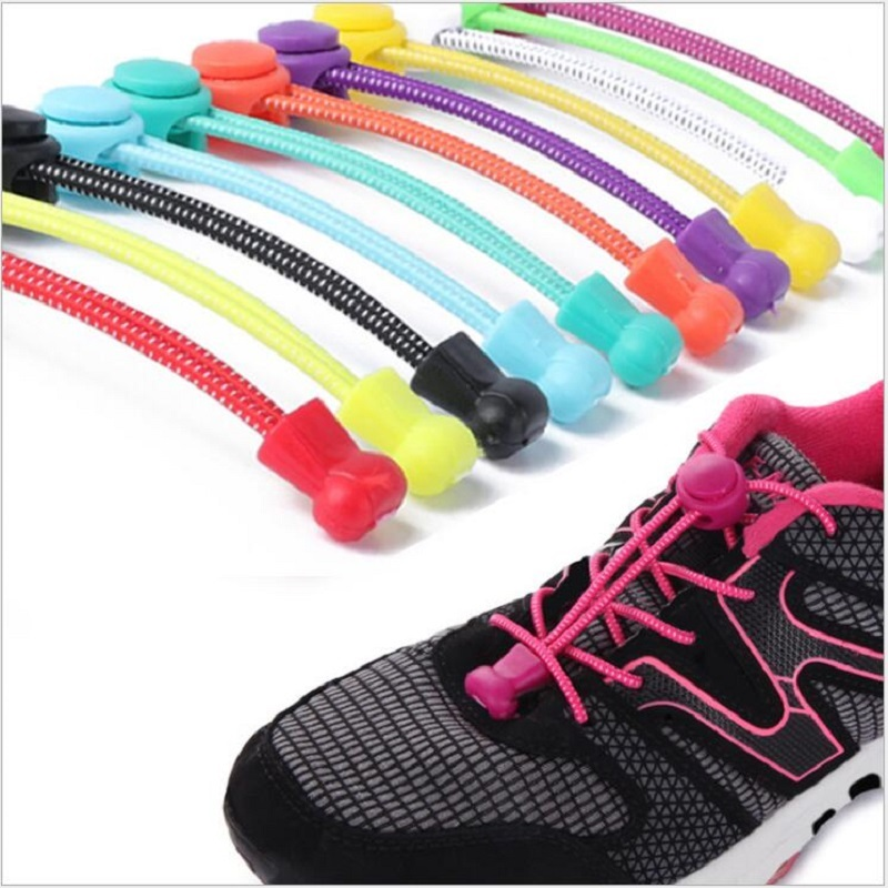 Stretching Lock lace 22 colors a pair Of Locking Shoe Laces Elastic Sneaker