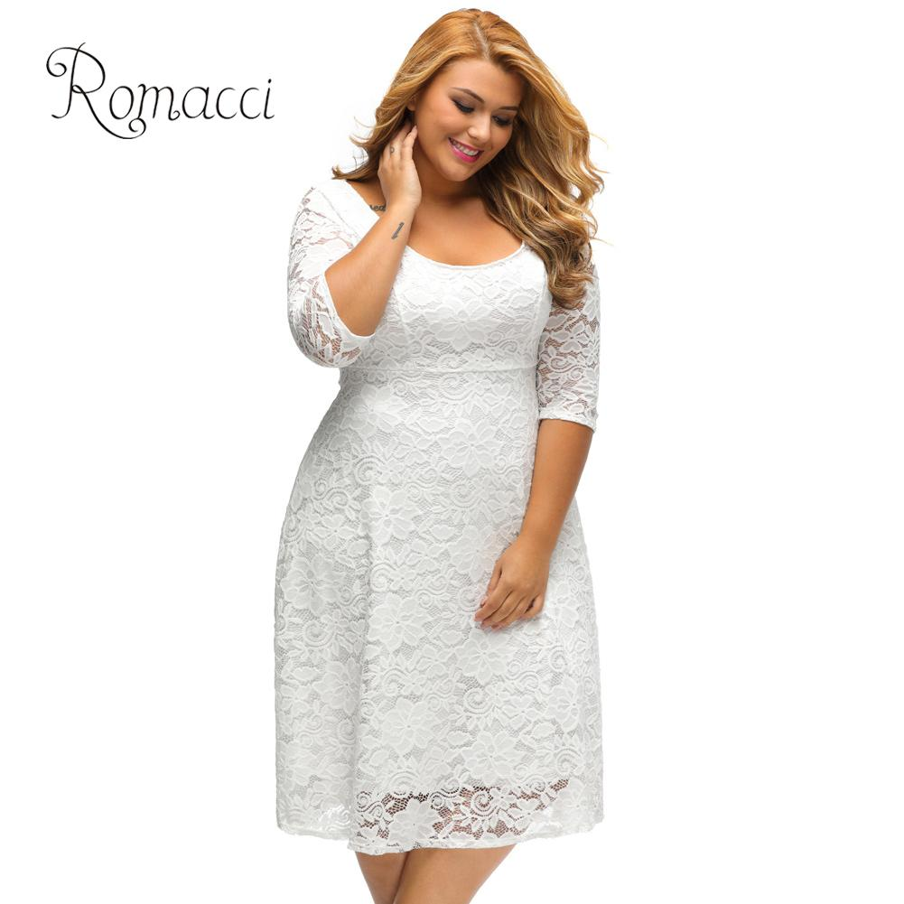 US $15.56 45% OFF|Romacci Women White Lace Dresses 2018 High Quality Floral  3/4 Sleeve A Line Plus Size Dress Female V Zip Back Black Party Dress-in ...