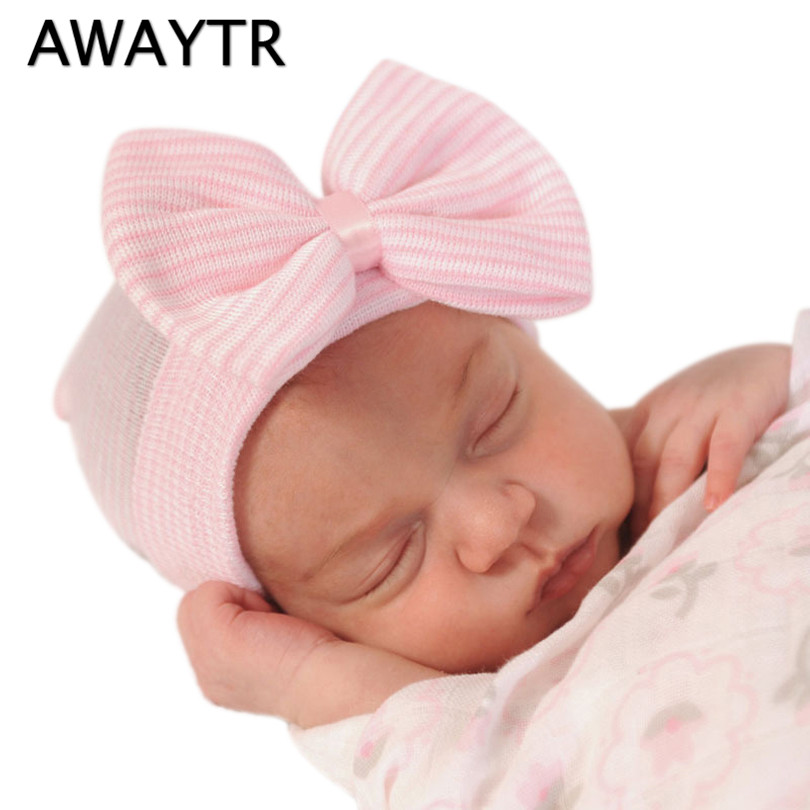 AWAYTR Kids Autumn Hat Newborn Beanie With Bow For Chlidren Girls Cotton Knit Beanies Striped Caps Toddler Hat Accessories 1pcs baby spring bow hat newborn beanie with bow for baby girls cotton knit beanie infant striped caps toddler hat accessories