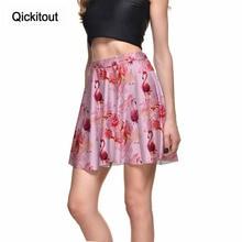 d3e918b7d Qickitout Skirts Hot Sales High quality Fashion Sexy Women's Flowers &  flamingos Pink Skirts Digital Print