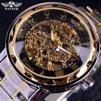투명한 골드 시계 남성 시계 브랜드 럭셔리 relogio 남성 시계 남성 캐주얼 시계 montre homme 기계식 해골 시계