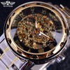 Mens Classic Transparent Steampunk Relogio Automatic Skeleton Mechanical Man Fashion Casual Stainless Self Wind Full Steel