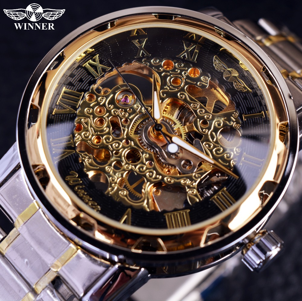 mechanical stainless watches watch product transparent men steampunk new detail skeleton mens analog steel classic