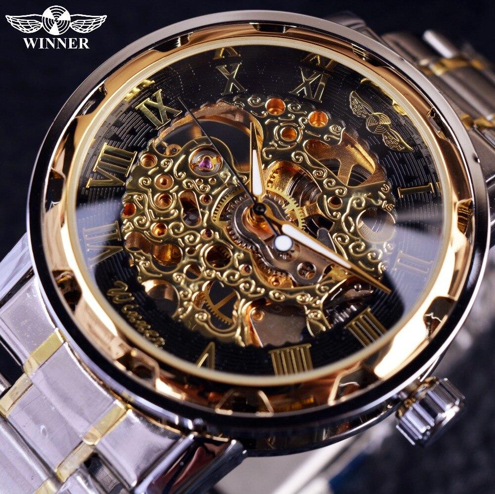 a2a4491fc17 Transparente Relógio De Ouro Dos Homens Relógios Top Marca de Luxo Relogio  Masculino Relógio Men Casual Assista Montre Homme Relógio Esqueleto Mecânico  em ...