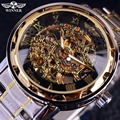 Transparente oro reloj hombres relojes Top marca de lujo Relogio masculino reloj hombres reloj Casual Montre Homme reloj esqueleto mecánico