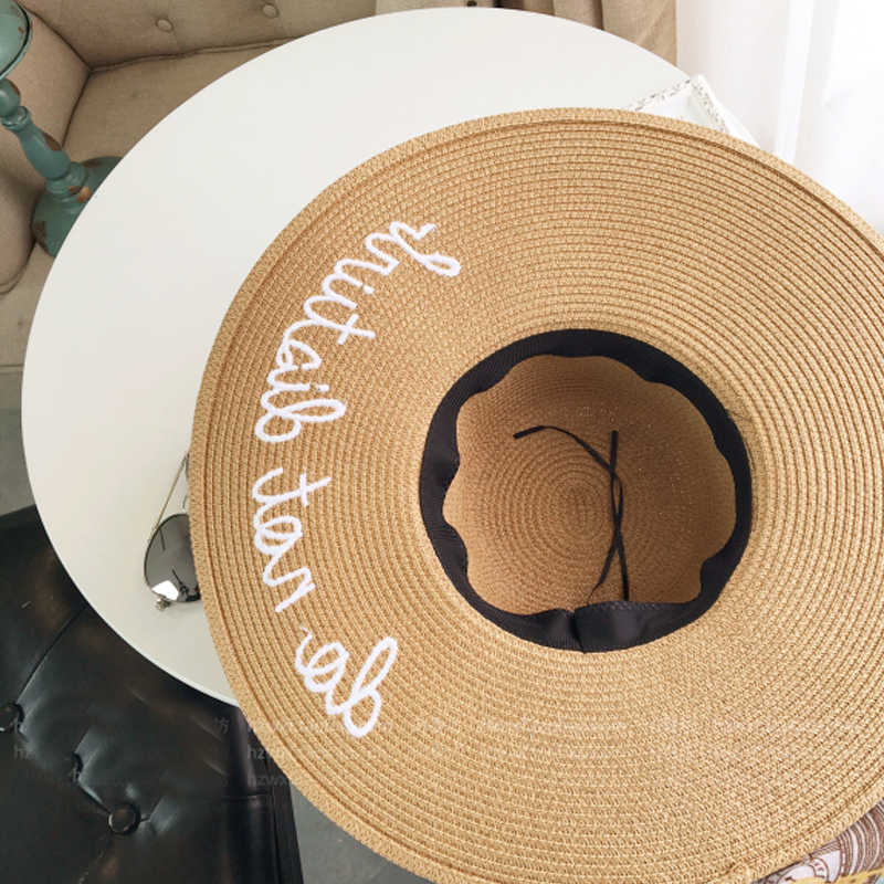 69c95d16626a4 ... 2017 Hot sale wide Brim sun hats for women Letter Embroidery straw Hats  girls Do Not