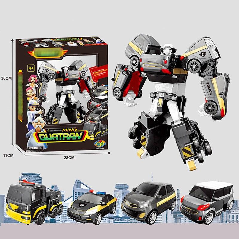 Korean Cartoon Deformation Car Action Model Four in one DIY Tritan Tobot Robot truck SUV car Racing Car Russia Kid Toys