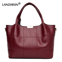 Lanzhixin Women Leather Handbags Women Luxury Soft Leather Shoulder Bags High Quality Women Messenger Bags Top