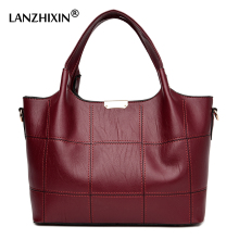 Lanzhixin Women Leather Handbags Women Luxury Soft Leather Shoulder Bags High Quality Women Messenger Bags Top-Handle Bag 3086