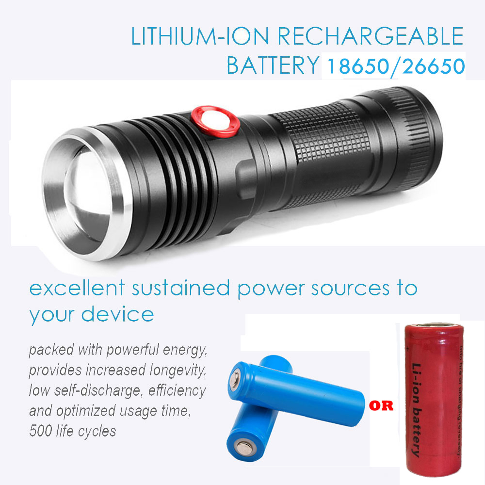 USB LED Tactical Flashlight CREE XML T6/L2 Flashlight 8000LM 26650 Battery Torch Power bicycle FlashLight Camping with USB Cable