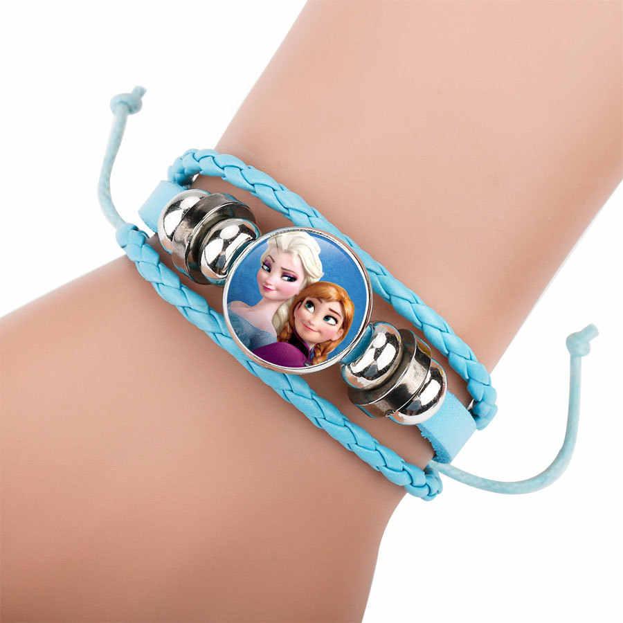 2018 Vintage Cute Snow Queen cristal encantos dibujos animados princesa trenza cuero pulsera brazaletes pulseras niños fiesta regalo suministro
