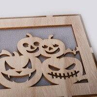 Новый 3D Тыква Деревянный светильник Хэллоуин украшения Урожай Осень День благодарения вечерние деревянный Декор Свет Хэллоуин деко