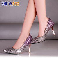 Gradient Sequined Cloth Women Pumps Spike High Heels Red Bottom Pointed Toe Wedding Party Thin Stiletto Slip on Bling Lady Shoes