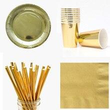 Os utensílios de mesa descartáveis ajustam placas de papel da folha copos palhas guardanapos de carimbo quente da festa de aniversário do casamento louça dourado/prata