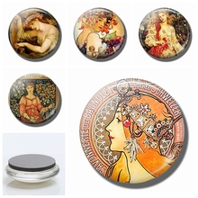 Art Nouveau Magnet Fridge Glass Vintage Refrigerator Magnets 30MM Alphonse Muchas Magnetic Stickers for Cute Ornaments