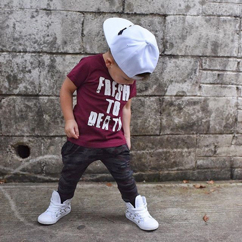 Fashion Toddler Kids Baby Boys Clothes set Letter Short Sleeve Tops T-shirt Long Pants Outfits boys Clothing 2018