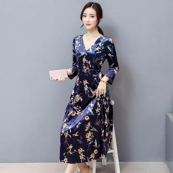Autumn plus size women clothing 2017 fashion v neck sexy long maxi bandage dress woman vintage floral velvet dresses elbise robe 2