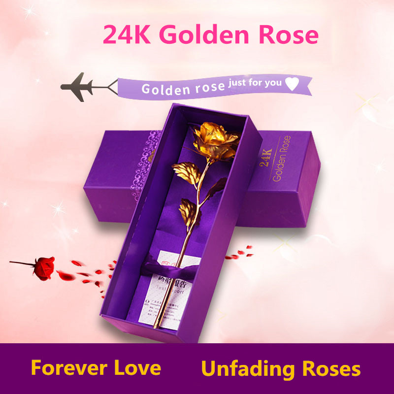 Wedding Gifts For Relatives: 24K Gold Plated Rose Flowers Eternal Love Unfading Rose As