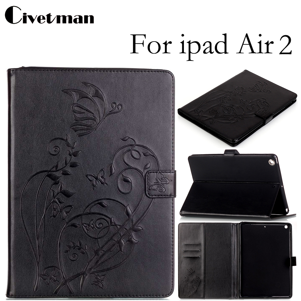 Civetman Luxury Embossing Case For Ipad Air 2 PU Leather Smart Case for iPad Air 2 in Unique Fashion Floral Totem Vintage Design for apple ipad air 2 pu leather case luxury silk pattern stand smart cover