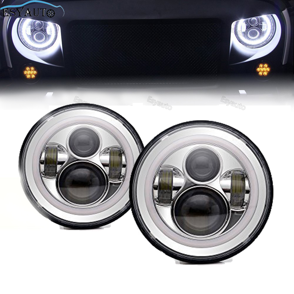7 LED Headlights Bulb with White Halo Angel Eye Ring DRL & Amber Turn Signal Lights for Jeep Wrangler JK LJ CJ 2 pcs 1pair led side maker lights for jeeep wrangler amber front fender flares parking turn lamp bulb indicator lens