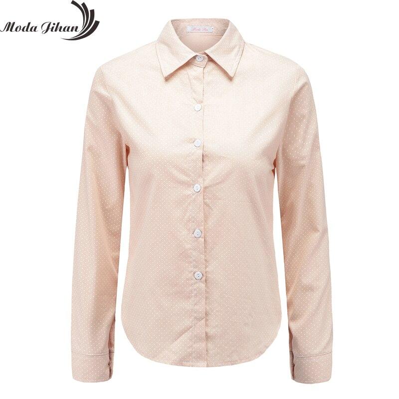 Moda Jihan новые женские блузки в горошек 100% хлопок блузка с длинным рукавом Женщины рубашки с отложным воротником повседневные Мягкие топы жен...