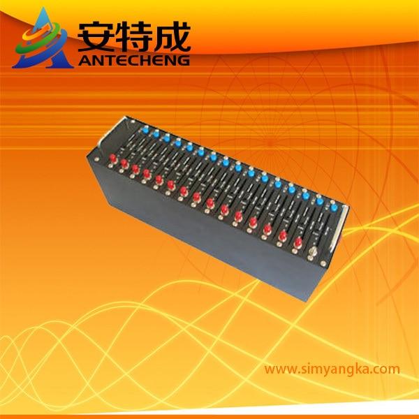 SMS Gate way sim card bulk sms gsm gprs modem pool Wavecom Q2403 16 port Recharge system USSD STK IMEI changeable option
