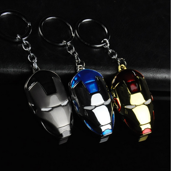 Iron Man Metal Mask Keychain Comic Super Hero Figure Key Chain Ironman Toy Accessories Keyring Gift 022