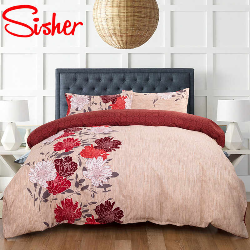 Sisher Floral Plant Printed Luxury Duvet Cover Set Classic Style Bedding Sets Twin Full Queen King Size Quilt Purple Bedclothes