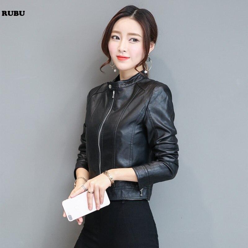 2017 New Fashion Women Motorcycle PU   Leather   Jackets Female Autumn Short Epaulet Zippers Coat Black Outwear PU PLUS SIZE S-XXL