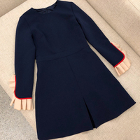 2019 винтажное женское платье с рюшами дизайнерский бренд роскошное женское платье высокого качества сексуальное весна осень синее платье с