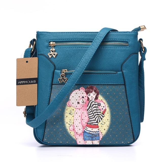 Women Messenger Bags Pu Leather Flap Bag Cartoon Printing Shoulder Crossbody Bag Double Zipper Bag 5