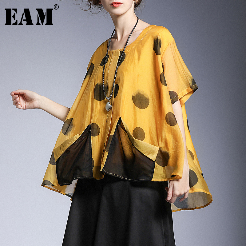 EAM 2019 New Spring Summer Round Neck Short Sleeve Shirt Print Pattern Thin Spliced Irregular
