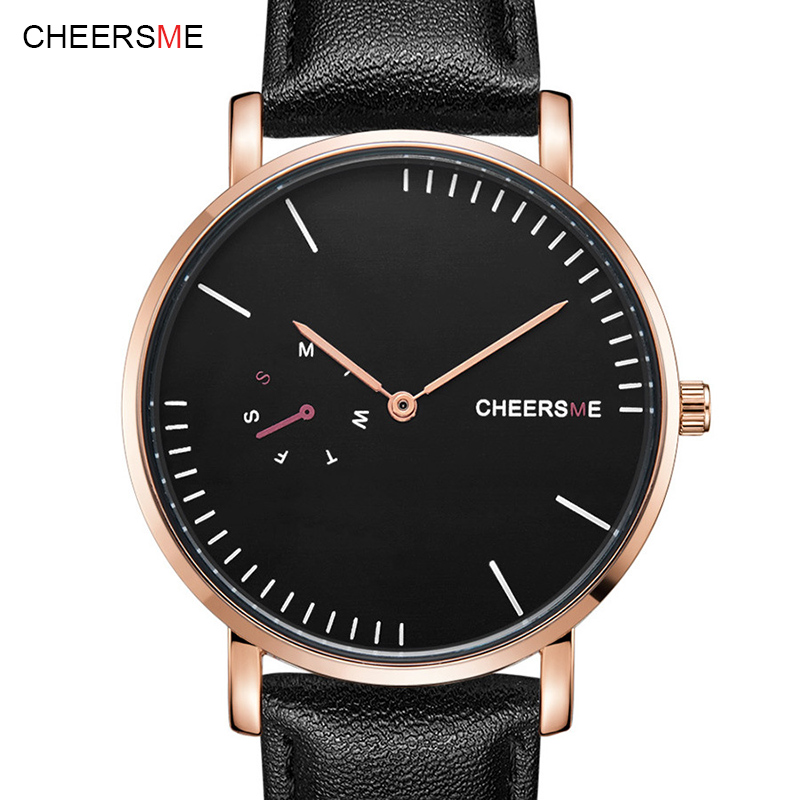 Cheersme Top Brand Mens Watches Luxury Quartz Casual Watch Women Leather Strap Ultra Thin Dial Clock relogio masculino weiqin w3224 shell dial ultra thin ceramic women quartz watch