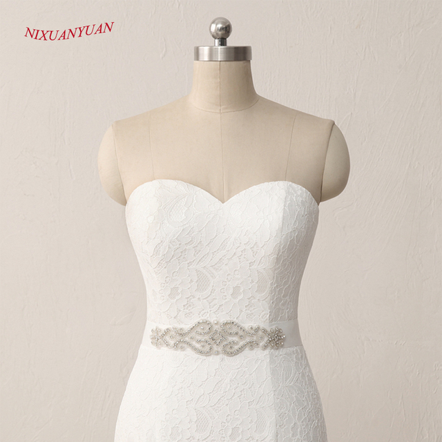 New Elegant White Ivory Lace Bridal Gown Mermaid Wedding Dress Vintage Cheap With Sash In Stock