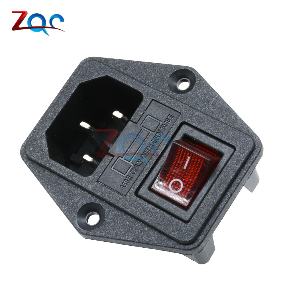 3 in 1 Black Red AC 250V 10A 3 Terminal Power Socket with Fuse Holder With Rocker Switch